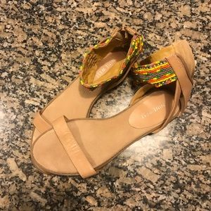 Nine West leather sandals with beaded ankle band